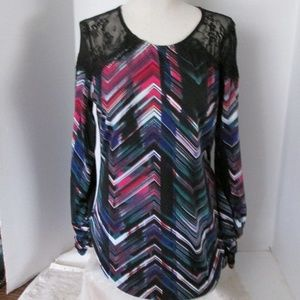 Bisou Bisou Pullover Top Multicolor Black Lace